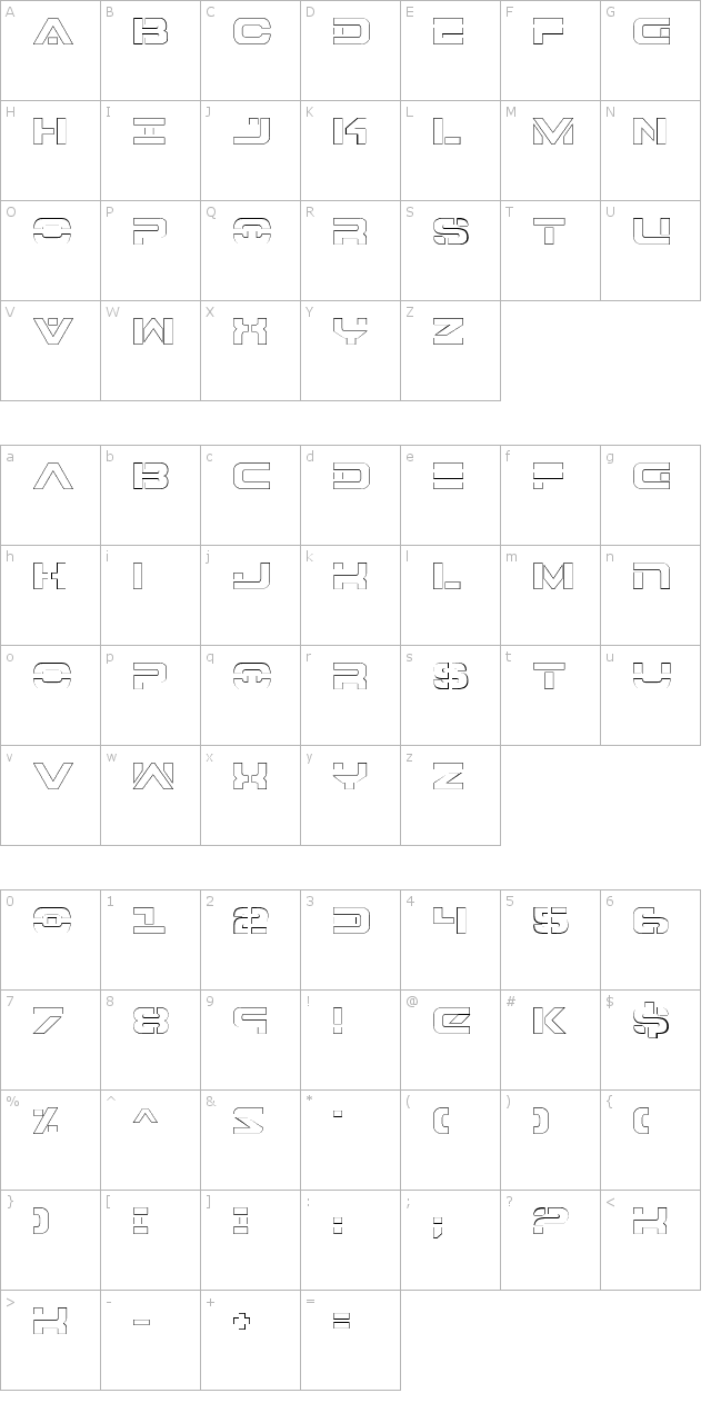 7th Service Outline Font