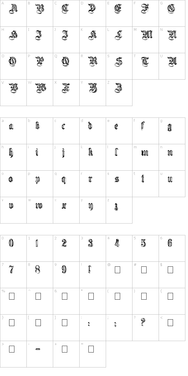 Embossed Germanica Font